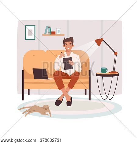 Remote Worker At Sofa With Tablet And Notebook. Man Doing Remote Job Near Lamp And Cat. Male Remotel