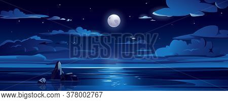 Night Landscape With Moon, Sea Or Ocean, Sky And Clouds. Scenic View On Midnight Ocean With Rock. Da