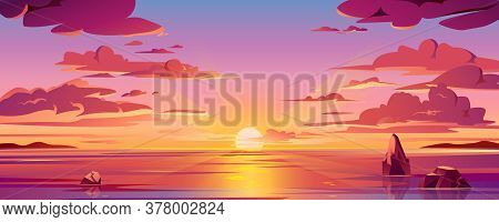 Panorama Of Sea Sunset Or Ocean Sunrise. Vector Illustration Of Water And Sky Horizon, Sun Reflectio