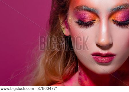 Bright Makeup And Face Art, Close-up Portrait, Girl With Closed Eyes. Creative Makeup, An Unusual Im