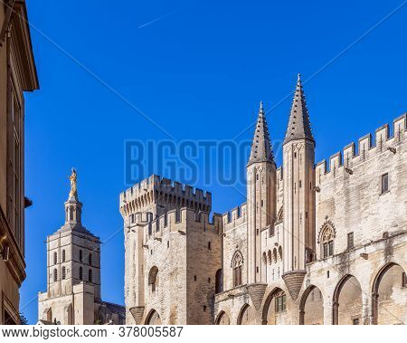View Of Avignon Cathedral (cathedral Of Our Lady Of Doms) And Palace Of The Popes In Avignon, France