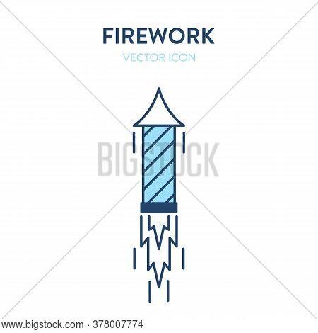 Firework Icon. Lighted Fireworks Flying Up Into The Sky. Vector Outline Illustration Of An Ignited P