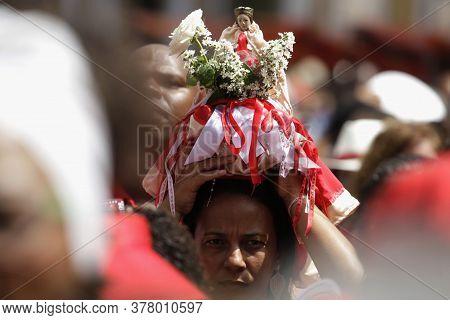 Salvador, Bahia / Brazil - February 4, 2015: Catholics And Candomble Supporters Revere Santa Barbara