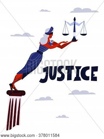 Justice Goddess Themis. Symbol Of Law And Justice. A Sword Of Justice