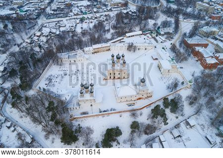 View From A Great Height Of The Holy Trinity Makaryevo-unzhenskiy Monastery On A January Day (aerial
