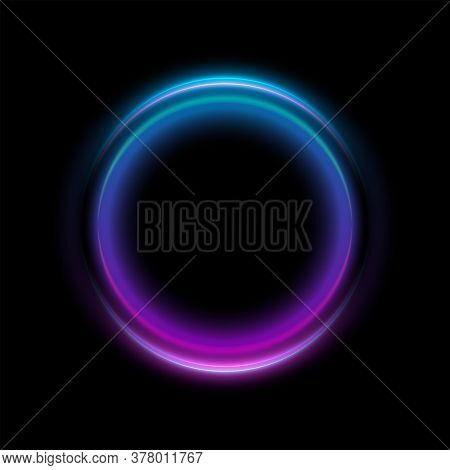 Abstract Neon Circles Banner. Blank 3d Light With Shining Neon Effect. Techno Frame With Glowing On