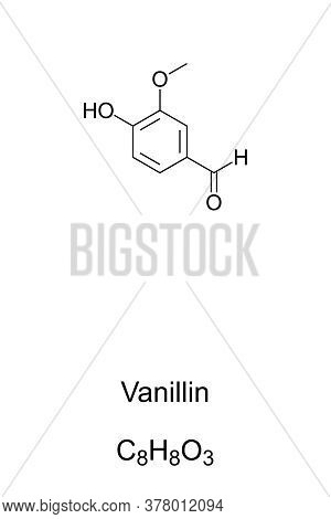 Vanillin, Chemical Structure And Formula. Primary Component Of Vanilla Bean Extract. Mainly Syntheti