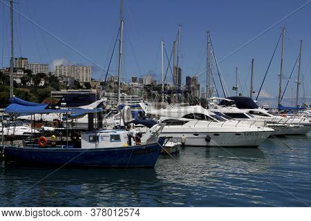 Salvador, Bahia / Brazil - March 21, 2013: Sightseeing Boats Are Seen In A Marina In Baia De Todos O