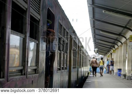Salvador, Bahia / Brazil - April 15, 2015: Passengers Are Seen At Tem Station In The Suburb In The C