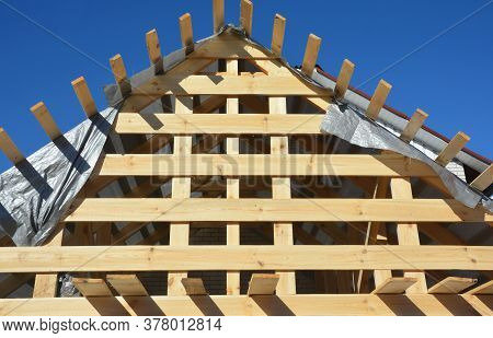 A Close-up On Roofing Construction, Gable Roof Framing Using Roof Beams, Rafters, Trusses, Braces, E