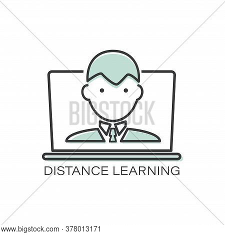 Distance Learning. Vector Line Icon Teacher, Student. Template For A Thematic Site. Outline Symbol