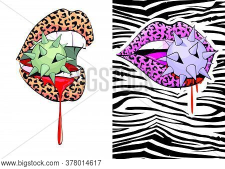 Set Of Two Vector Illustrations Of Woman Lips Biting A Spiked Sphere And Bleeding