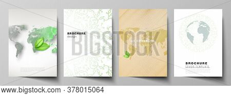 Vector Layout Of A4 Format Cover Mockups Design Templates For Brochure, Flyer, Booklet, Cover Design
