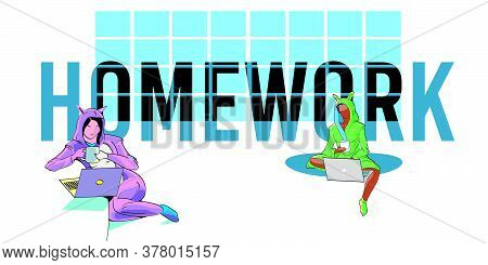 Vector Illustration Of Two Girls Sitting Working At Home With Word