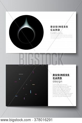 Vector Layout Of Two Creative Business Cards Design Templates, Horizontal Template Vector Design. Te