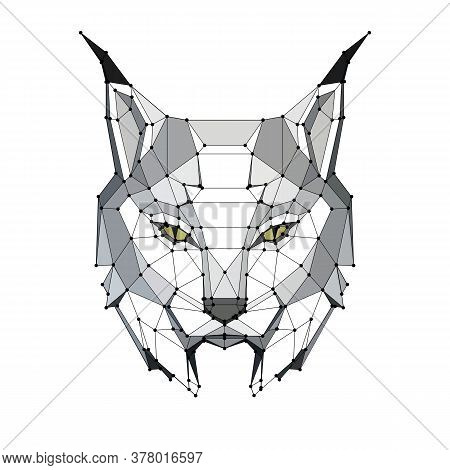 Low Poly Portrait Of A Lynx With Points, Graphic Monochrome Illustration