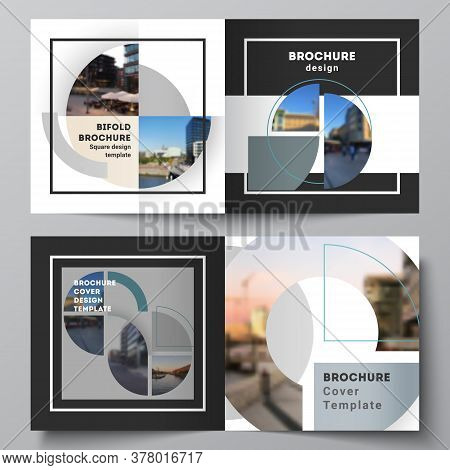 Vector Layout Of Two Covers Templates For Square Design Bifold Brochure, Flyer, Cover Design, Book,