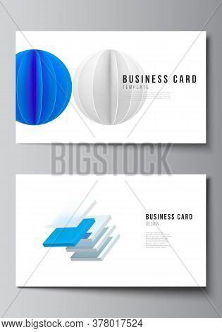 Vector Layout Of Two Creative Business Cards Design Templates, Horizontal Template Vector Design. 3d