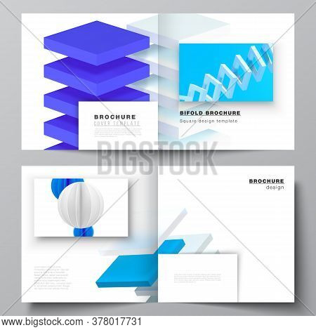 Vector Layout Of Two Covers Template For Square Bifold Brochure, Flyer, Magazine, Cover Design, Book
