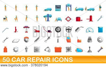 50 Car Repair Icons Set. Cartoon Illustration Of 50 Car Repair Icons Vector Set Isolated On White Ba