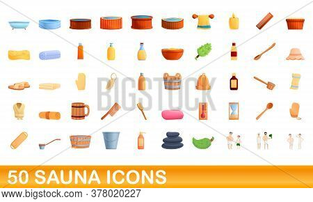 50 Sauna Icons Set. Cartoon Illustration Of 50 Sauna Icons Vector Set Isolated On White Background