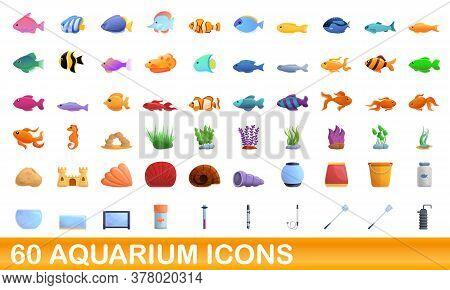 60 Aquarium Icons Set. Cartoon Illustration Of 60 Aquarium Icons Vector Set Isolated On White Backgr