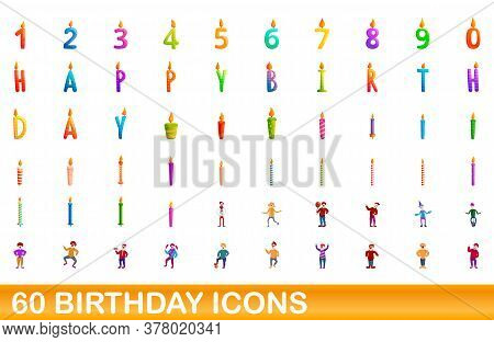 60 Birthday Icons Set. Cartoon Illustration Of 60 Birthday Icons Vector Set Isolated On White Backgr