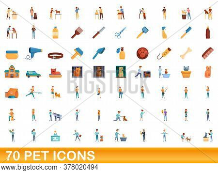 70 Pet Icons Set. Cartoon Illustration Of 70 Pet Icons Vector Set Isolated On White Background