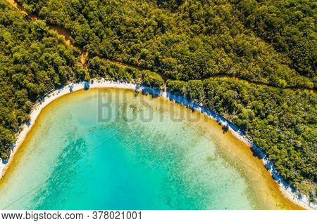 Aerial Overhead View Of Beautiful Lagoon On Adriatic Sea In Croatia, Dugi Otok Island. Pine Woods, L
