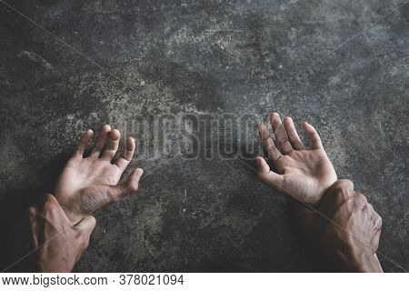 Man's Hand Holding A Woman Hand For Rape, Sexual Abuse Is A Problem.