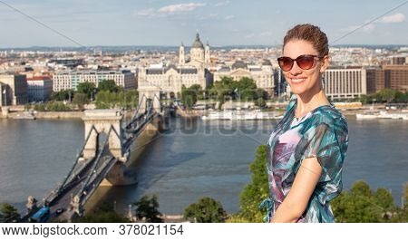 Happy Young Redhead Caucasian 20s Woman Toothy Smile At Budapest Panorama, Hungary