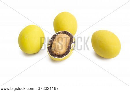 Chocolate Peanuts Colored Glaze Isolated On White Background