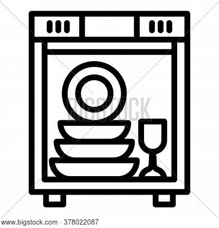 Full Dishwasher Icon. Outline Full Dishwasher Vector Icon For Web Design Isolated On White Backgroun