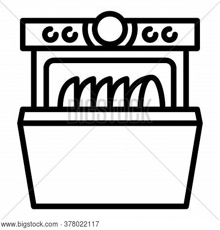 Home Dishwasher Icon. Outline Home Dishwasher Vector Icon For Web Design Isolated On White Backgroun