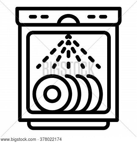 Working Dishwasher Icon. Outline Working Dishwasher Vector Icon For Web Design Isolated On White Bac