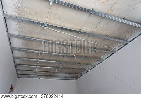 Ceiling Frame Construction In New Home. Installing Suspended Ceiling