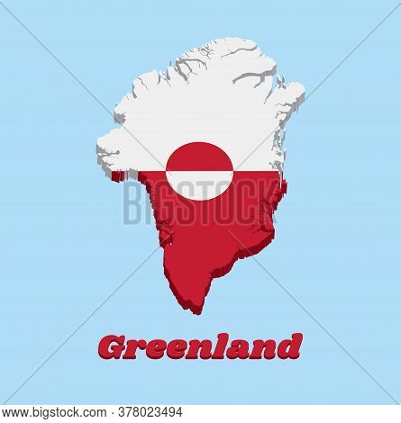 3d Map Outline And Flag Of Greenland, A Horizontal Bicolor Of White And Red, With A Counterchanged D