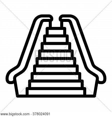 Front View Escalator Icon. Outline Front View Escalator Vector Icon For Web Design Isolated On White