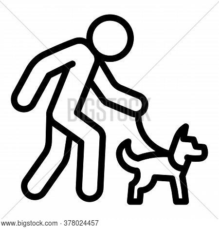 Senior Man Walking Dog Icon. Outline Senior Man Walking Dog Vector Icon For Web Design Isolated On W