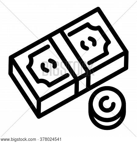 Money Cash Icon. Outline Money Cash Vector Icon For Web Design Isolated On White Background