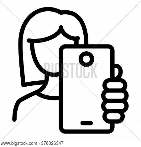 Woman Make Selfie Icon. Outline Woman Make Selfie Vector Icon For Web Design Isolated On White Backg