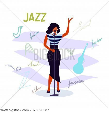 Jazz Singer Vector Illustration, Jazz Music Party Invitation Design. International Jazz Day Poster I