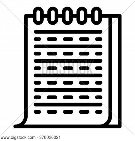 Paper Notebook Icon. Outline Paper Notebook Vector Icon For Web Design Isolated On White Background