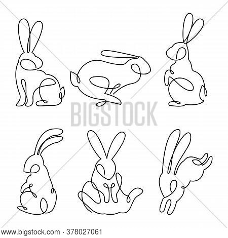 Continuous Line Drawing Of Easter Rabbit Set, Black And White Vector Minimalistic Hand Drawn Illustr