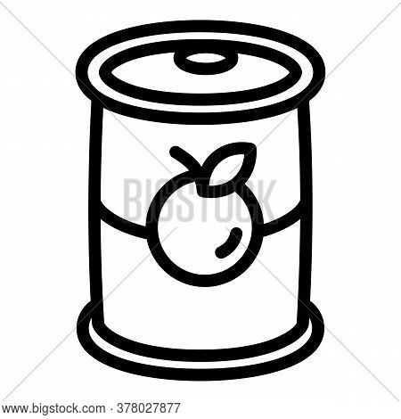 Fruit Tin Can Icon. Outline Fruit Tin Can Vector Icon For Web Design Isolated On White Background