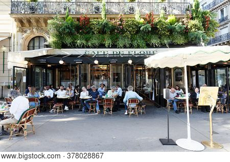 Paris France-july 21, 2020 :the Cafe De Flore Located At The Corner Of Boulevard Saint Germain And R