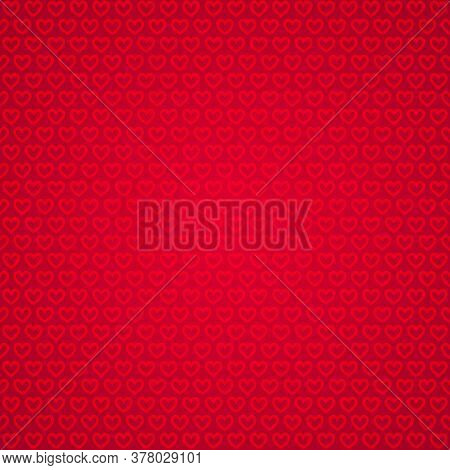 Heart Shapes In Rows On Red Background. Abstract Love Background.