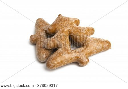 Christmas Ginger Cookies In Icing Isolated On White Background