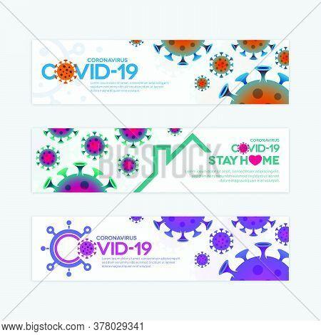 Colorful Covid-19 Vector Banner Templates With Virus Symbols. Various Novel Coronavirus Concept Desi