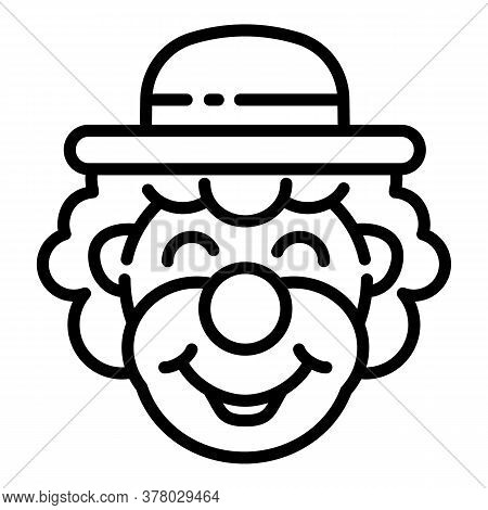 Smiling Clown Icon. Outline Smiling Clown Vector Icon For Web Design Isolated On White Background